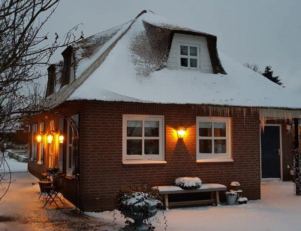 B&B huis in de sneeuw (achterzjide)